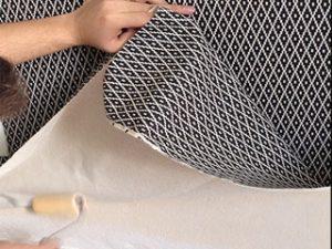 Aplicação de tecido em parece
